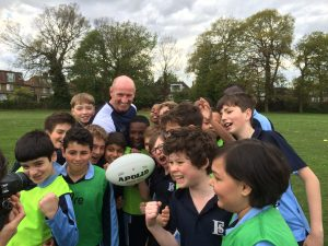 Fortismere Year 7 students pose for photos with Prospero Teaching's Gareth Thomas