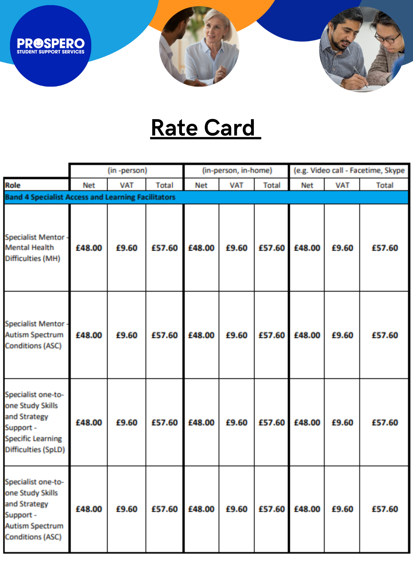 Student Support Services at Prospero rate card
